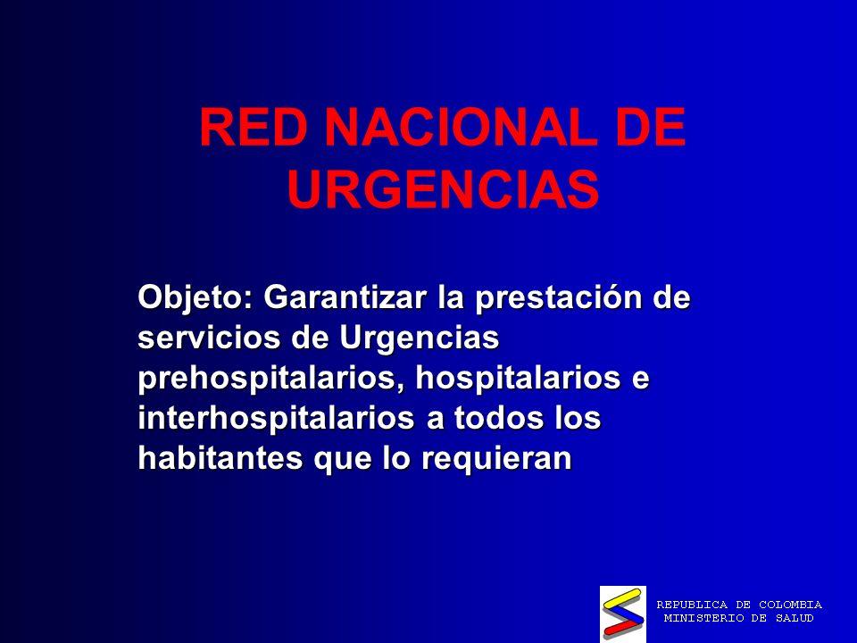 RED NACIONAL DE URGENCIAS Objeto: Garantizar la prestación de servicios de Urgencias prehospitalarios, hospitalarios e interhospitalarios a todos los habitantes que lo requieran