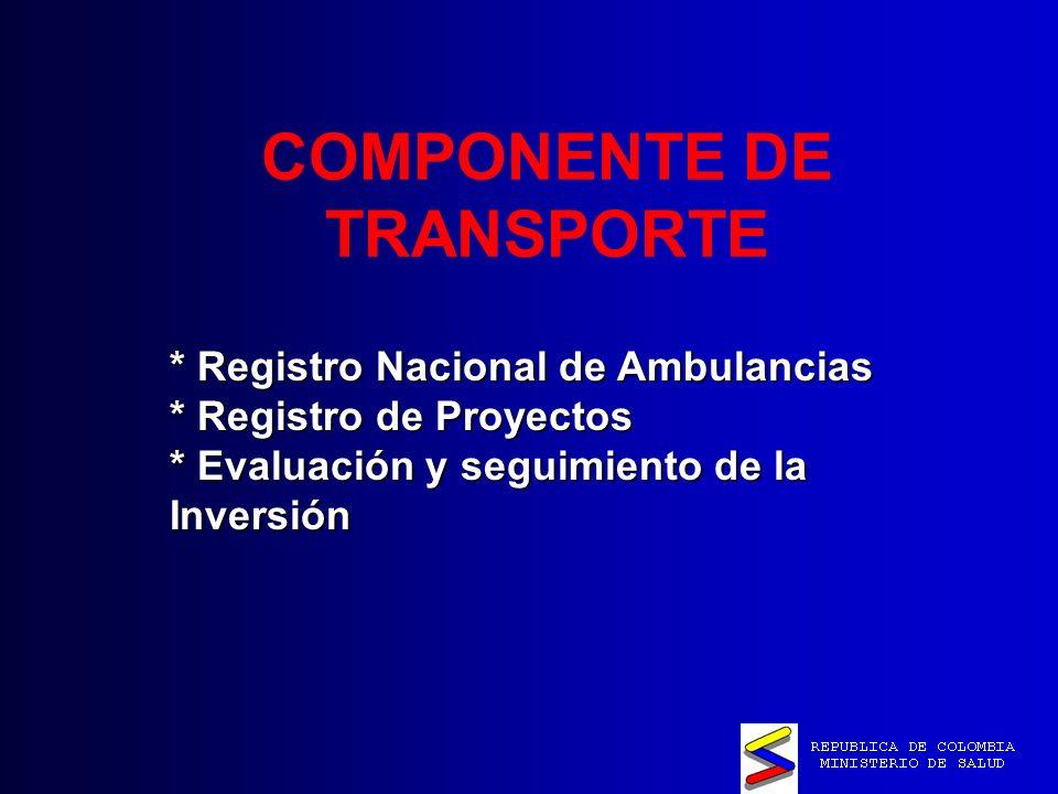COMPONENTE DE TRANSPORTE * Registro Nacional de Ambulancias * Registro de Proyectos * Evaluación y seguimiento de la Inversión