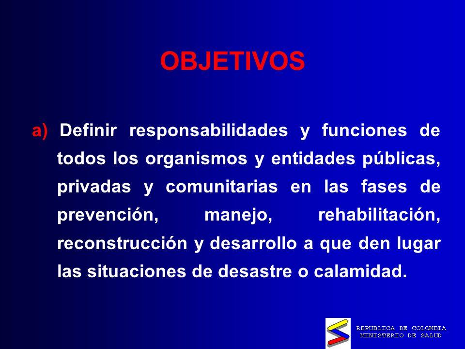 OBJETIVOS a) Definir responsabilidades y funciones de todos los organismos y entidades públicas, privadas y comunitarias en las fases de prevención, manejo, rehabilitación, reconstrucción y desarrollo a que den lugar las situaciones de desastre o calamidad.