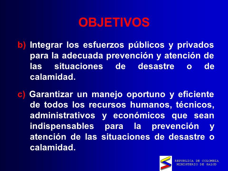 OBJETIVOS b) Integrar los esfuerzos públicos y privados para la adecuada prevención y atención de las situaciones de desastre o de calamidad.