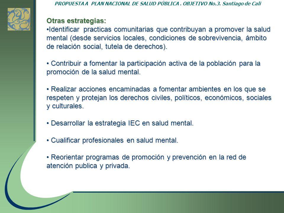 PROPUESTA A PLAN NACIONAL DE SALUD PÚBLICA. OBJETIVO No.3. Santiago de Cali Otras estrategias: Identificar practicas comunitarias que contribuyan a pr