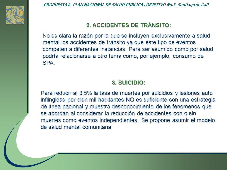 PROPUESTA A PLAN NACIONAL DE SALUD PÚBLICA. OBJETIVO No.3. Santiago de Cali 2. ACCIDENTES DE TRÁNSITO: No es clara la razón por la que se incluyen exc