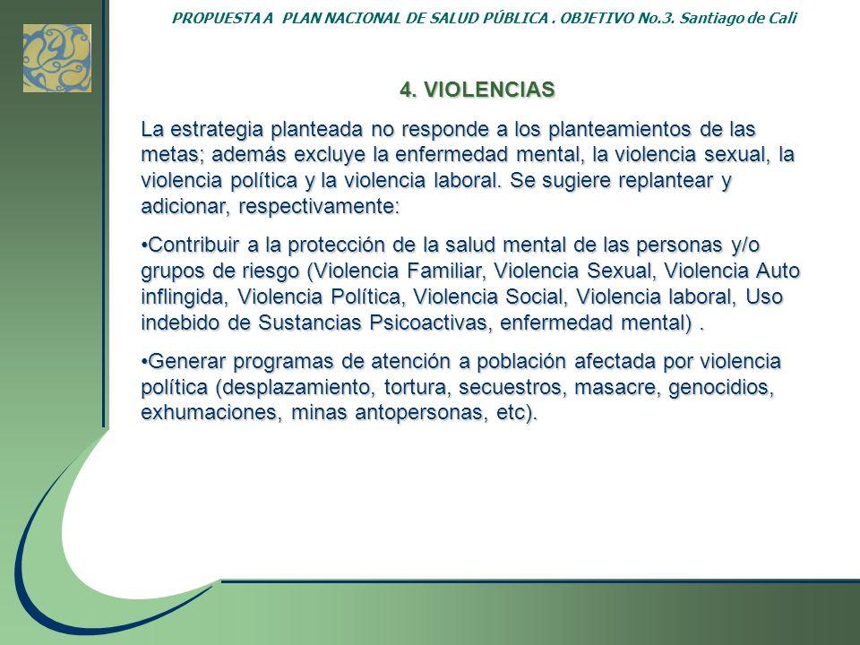 PROPUESTA A PLAN NACIONAL DE SALUD PÚBLICA. OBJETIVO No.3. Santiago de Cali 4. VIOLENCIAS La estrategia planteada no responde a los planteamientos de