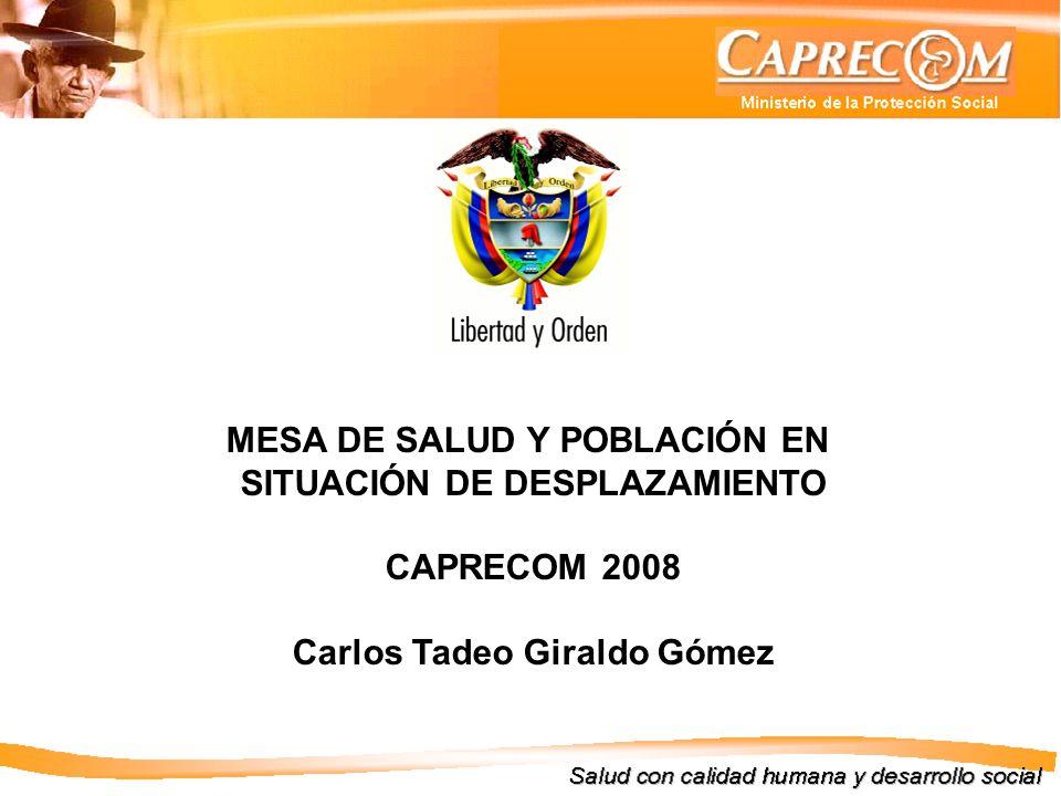 MESA DE SALUD Y POBLACIÓN EN SITUACIÓN DE DESPLAZAMIENTO CAPRECOM 2008 Carlos Tadeo Giraldo Gómez
