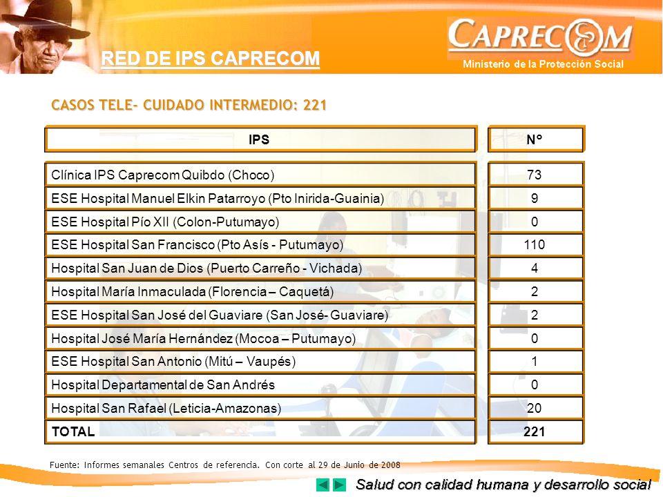 RED DE IPS CAPRECOM N°IPS Clínica IPS Caprecom Quibdo (Choco)73 ESE Hospital Manuel Elkin Patarroyo (Pto Inirida-Guainia)9 ESE Hospital Pío XII (Colon