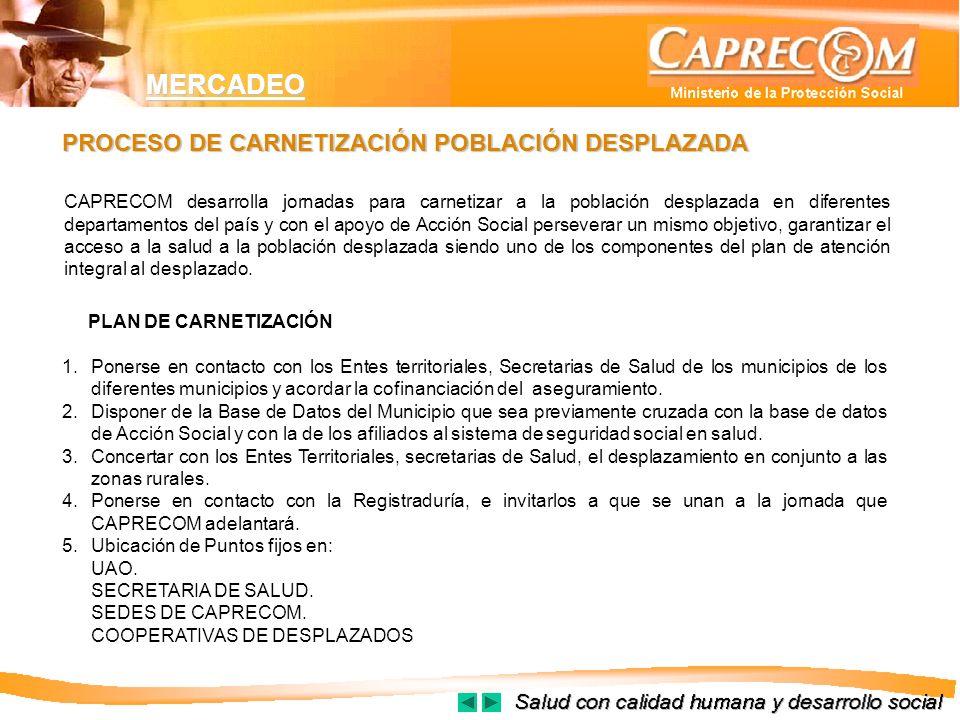 MERCADEO PLAN DE CARNETIZACIÓN 1.Ponerse en contacto con los Entes territoriales, Secretarias de Salud de los municipios de los diferentes municipios