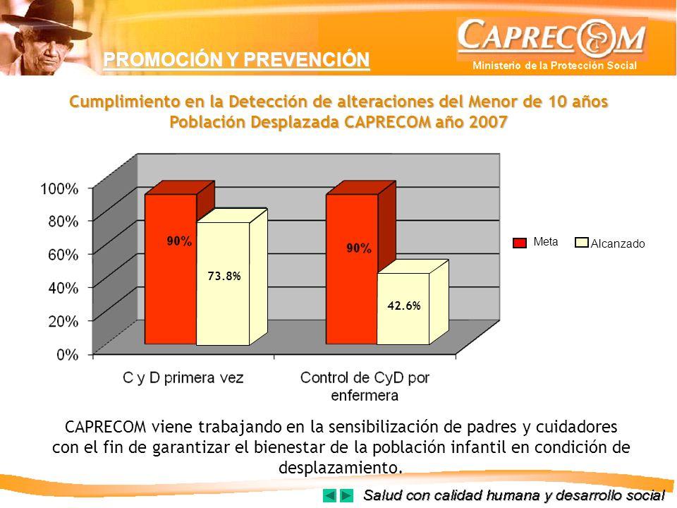 PROMOCIÓN Y PREVENCIÓN Cumplimiento en la Detección de alteraciones del Menor de 10 años Población Desplazada CAPRECOM año 2007 CAPRECOM viene trabaja