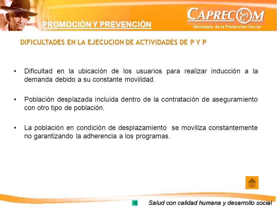 PROMOCIÓN Y PREVENCIÓN DIFICULTADES EN LA EJECUCION DE ACTIVIDADES DE P Y P Dificultad en la ubicación de los usuarios para realizar inducción a la de
