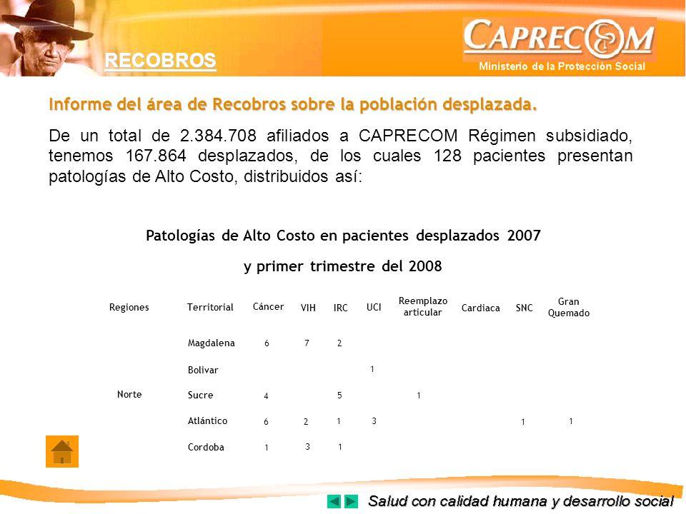Informe del área de Recobros sobre la población desplazada. De un total de 2.384.708 afiliados a CAPRECOM Régimen subsidiado, tenemos 167.864 desplaza