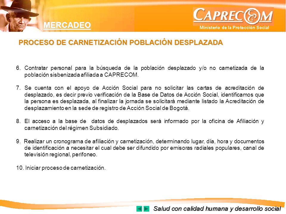 MERCADEO 6. Contratar personal para la búsqueda de la población desplazado y/o no carnetizada de la población sisbenizada afiliada a CAPRECOM. 7. Se c