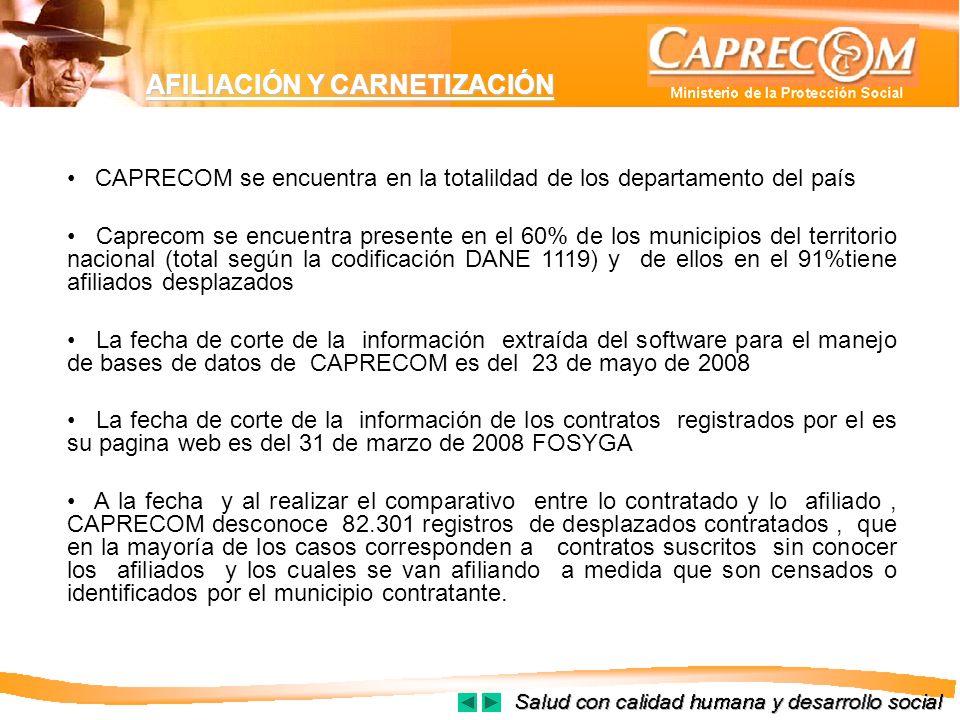 AFILIACIÓN Y CARNETIZACIÓN CAPRECOM se encuentra en la totalildad de los departamento del país Caprecom se encuentra presente en el 60% de los municip