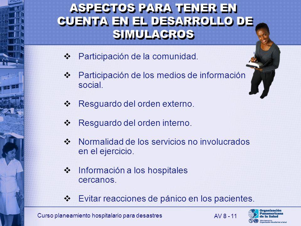 Curso planeamiento hospitalario para desastres 11 Participación de la comunidad. Participación de los medios de información social. Resguardo del orde