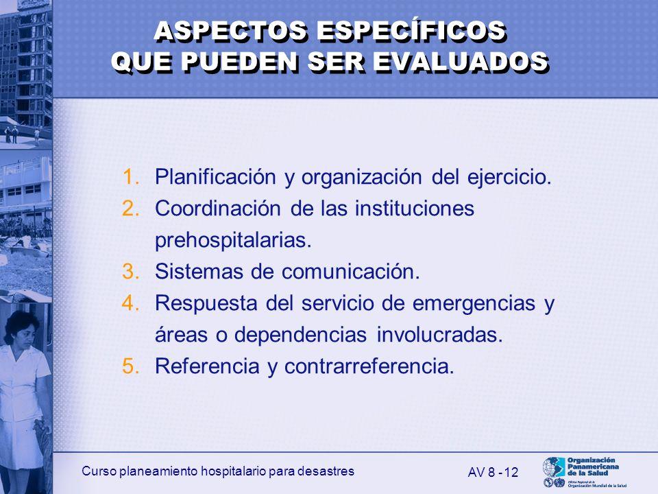 Curso planeamiento hospitalario para desastres 12 1.Planificación y organización del ejercicio. 2.Coordinación de las instituciones prehospitalarias.