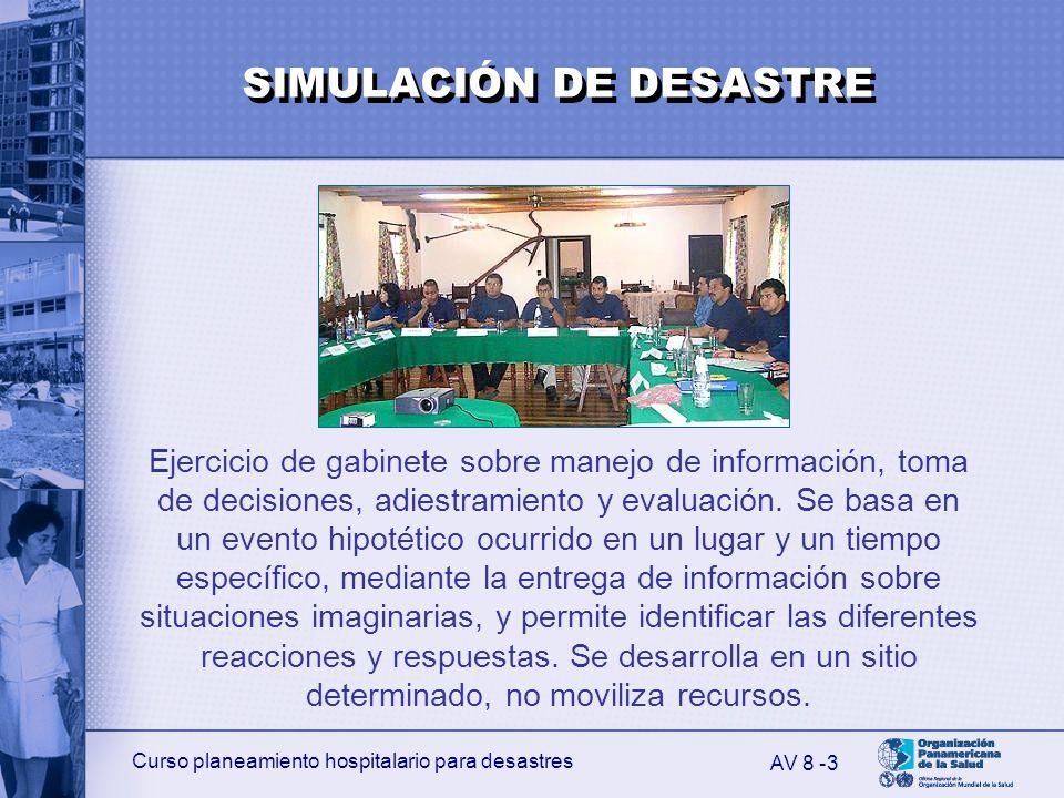 Curso planeamiento hospitalario para desastres 3 Ejercicio de gabinete sobre manejo de información, toma de decisiones, adiestramiento y evaluación. S