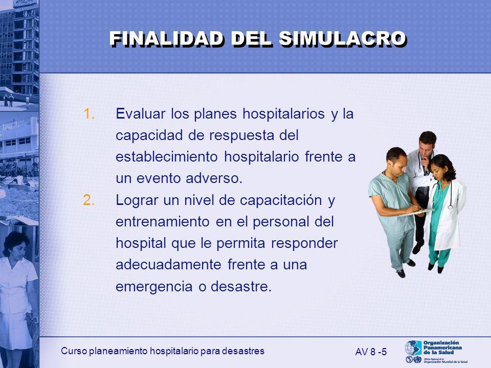 Curso planeamiento hospitalario para desastres 5 1.Evaluar los planes hospitalarios y la capacidad de respuesta del establecimiento hospitalario frent