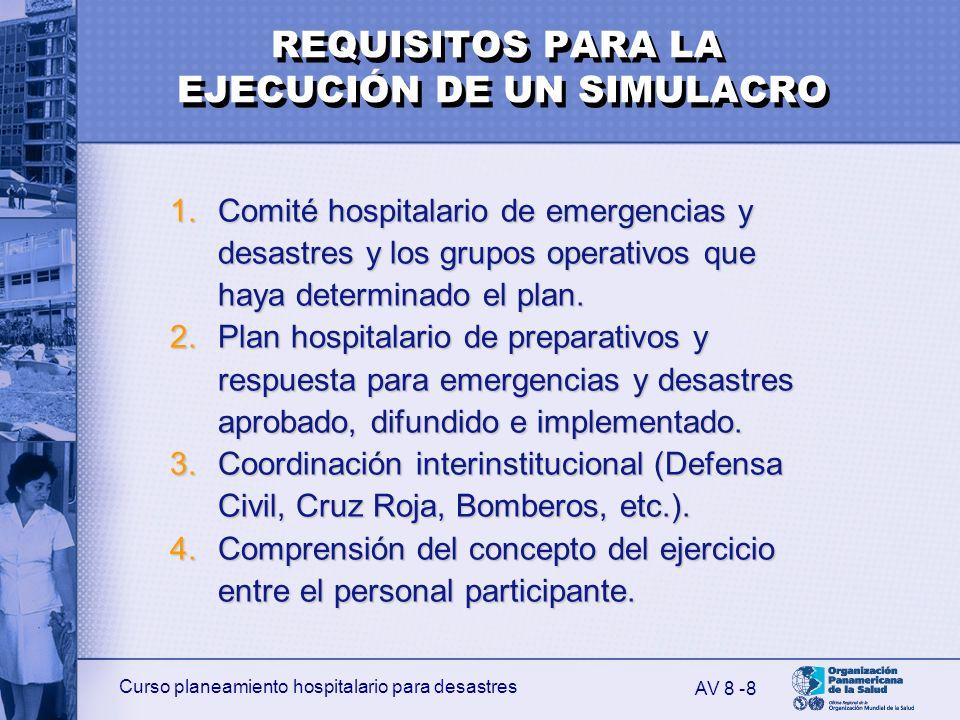 Curso planeamiento hospitalario para desastres 8 1.Comité hospitalario de emergencias y desastres y los grupos operativos que haya determinado el plan