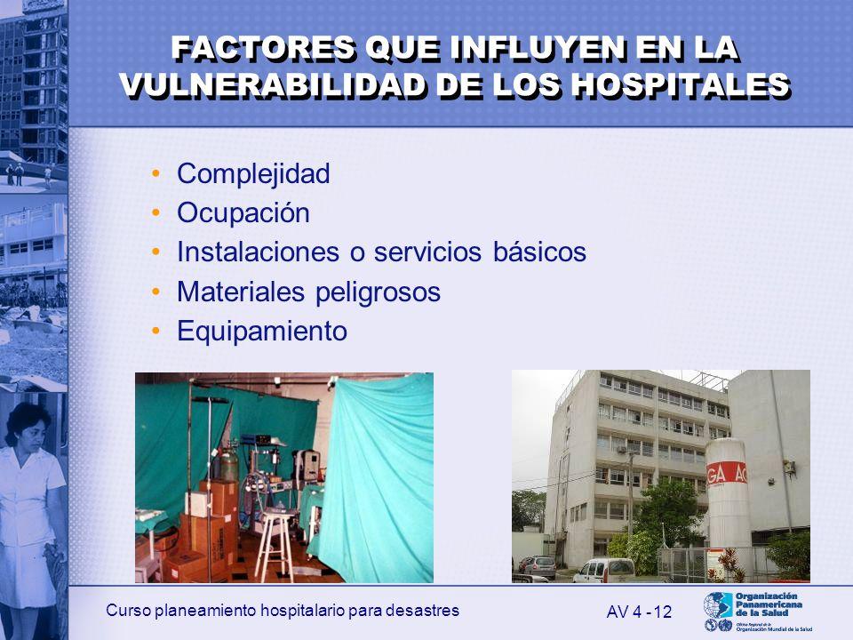 Curso planeamiento hospitalario para desastres 12 Complejidad Ocupación Instalaciones o servicios básicos Materiales peligrosos Equipamiento AV 4 - FA