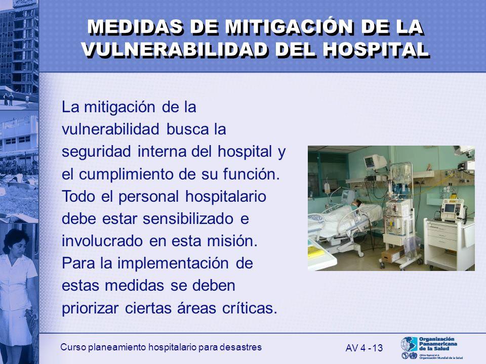 Curso planeamiento hospitalario para desastres 13 La mitigación de la vulnerabilidad busca la seguridad interna del hospital y el cumplimiento de su f