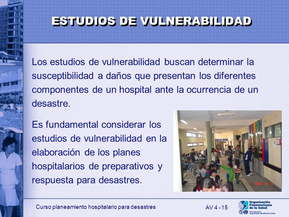 Curso planeamiento hospitalario para desastres 15 Los estudios de vulnerabilidad buscan determinar la susceptibilidad a daños que presentan los difere