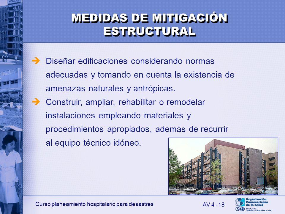 Curso planeamiento hospitalario para desastres 18 Diseñar edificaciones considerando normas adecuadas y tomando en cuenta la existencia de amenazas na