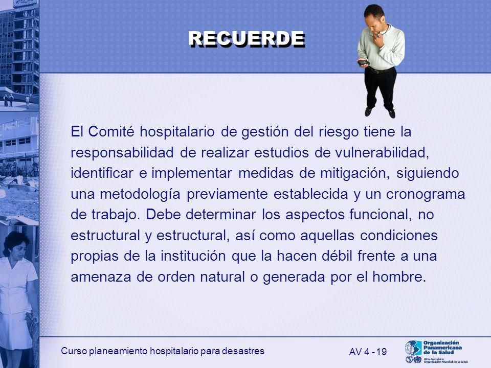 Curso planeamiento hospitalario para desastres 19 El Comité hospitalario de gestión del riesgo tiene la responsabilidad de realizar estudios de vulner