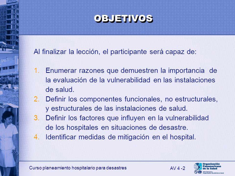 Curso planeamiento hospitalario para desastres 2 Al finalizar la lección, el participante será capaz de: 1.Enumerar razones que demuestren la importan