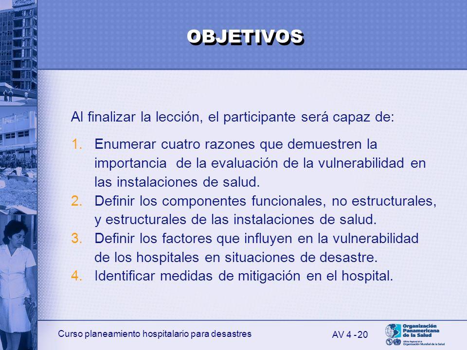 Curso planeamiento hospitalario para desastres 20 Al finalizar la lección, el participante será capaz de: 1.Enumerar cuatro razones que demuestren la