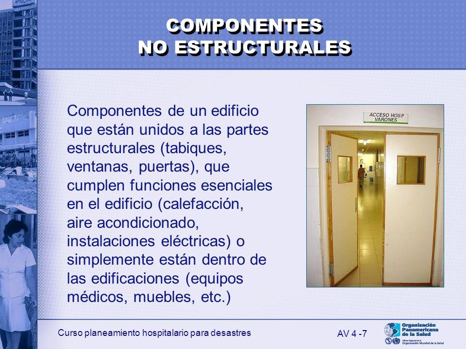 Curso planeamiento hospitalario para desastres 8 Servicios básicos Equipos Elementos arquitectónicos Equipamiento y mobiliario AV 4 - EJEMPLOS DE COMPONENTES NO ESTRUCTURALES
