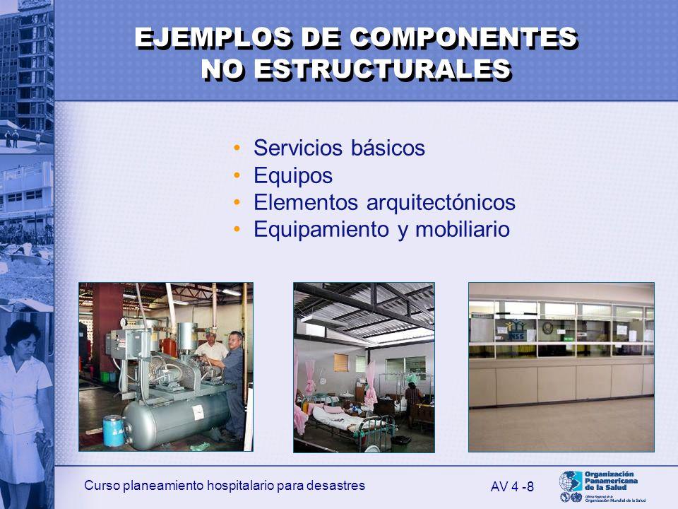 Curso planeamiento hospitalario para desastres 8 Servicios básicos Equipos Elementos arquitectónicos Equipamiento y mobiliario AV 4 - EJEMPLOS DE COMP