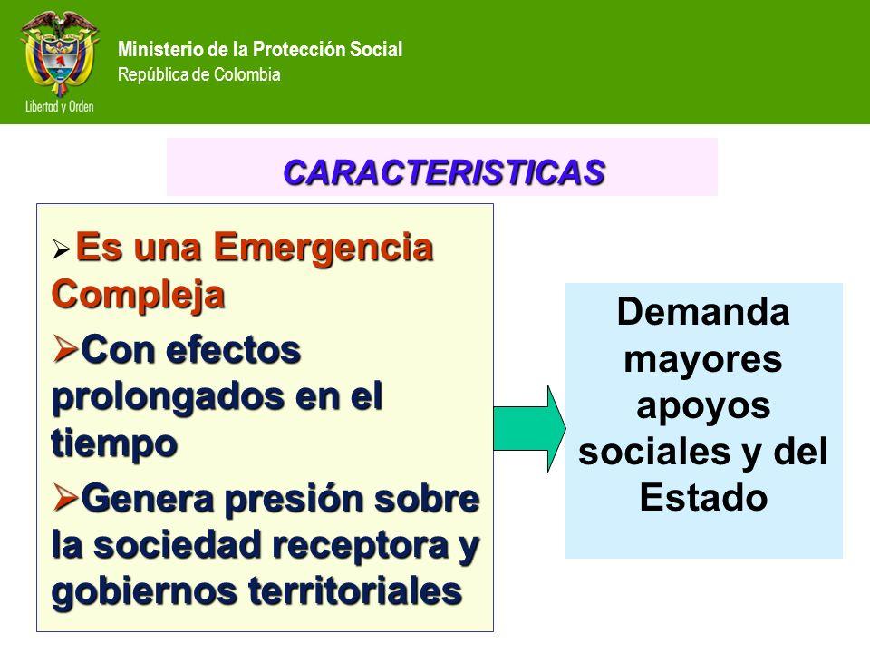 Ministerio de la Protección Social República de Colombia Es una Emergencia Compleja Con efectos prolongados en el tiempo Con efectos prolongados en el
