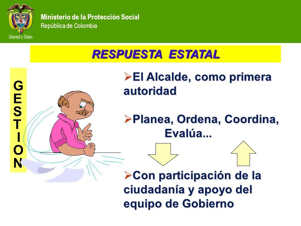 Ministerio de la Protección Social República de Colombia El Alcalde, como primera autoridad El Alcalde, como primera autoridad Planea, Ordena, Coordin