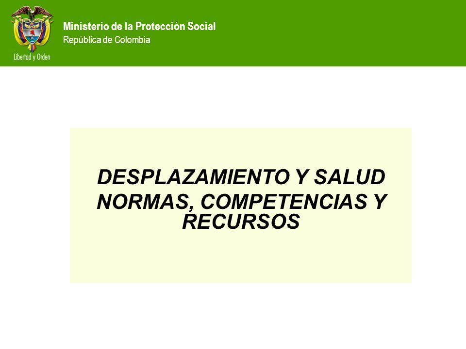 DESPLAZAMIENTO Y SALUD NORMAS, COMPETENCIAS Y RECURSOS