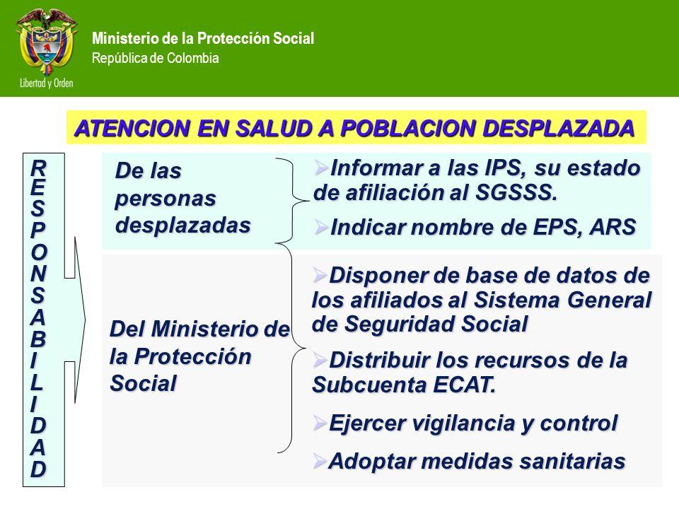 Ministerio de la Protección Social República de Colombia Informar a las IPS, su estado de afiliación al SGSSS. Informar a las IPS, su estado de afilia