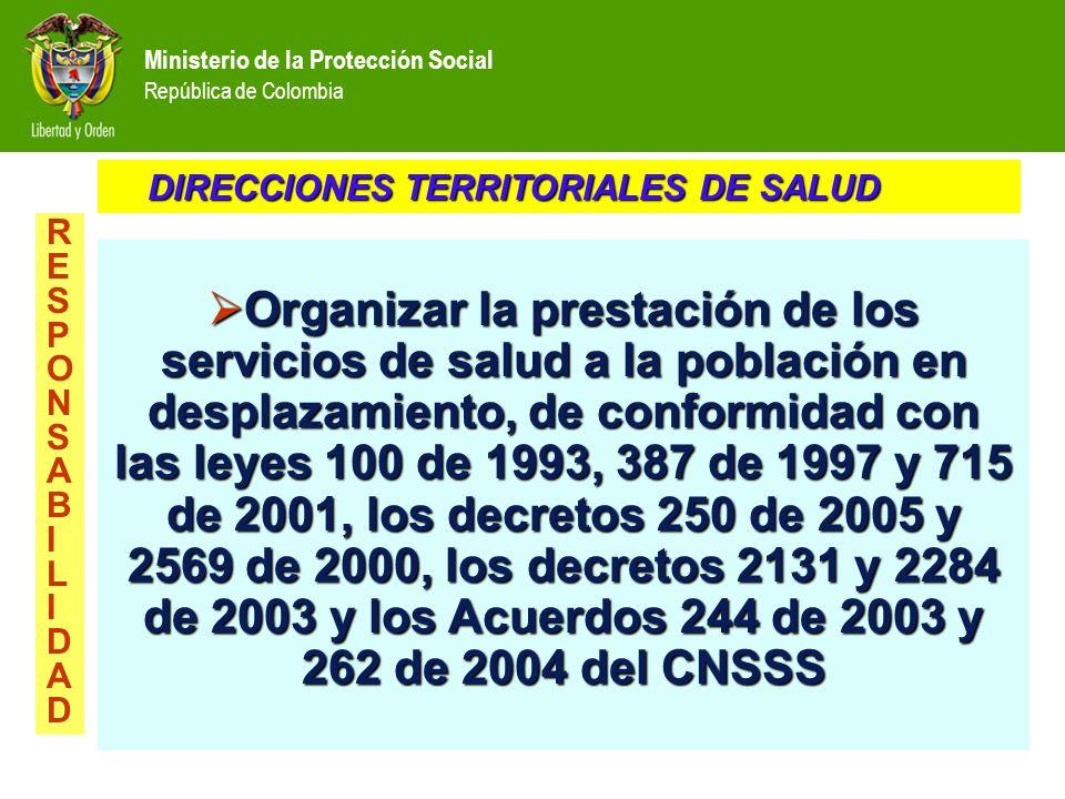 Ministerio de la Protección Social República de Colombia Organizar la prestación de los servicios de salud a la población en desplazamiento, de confor