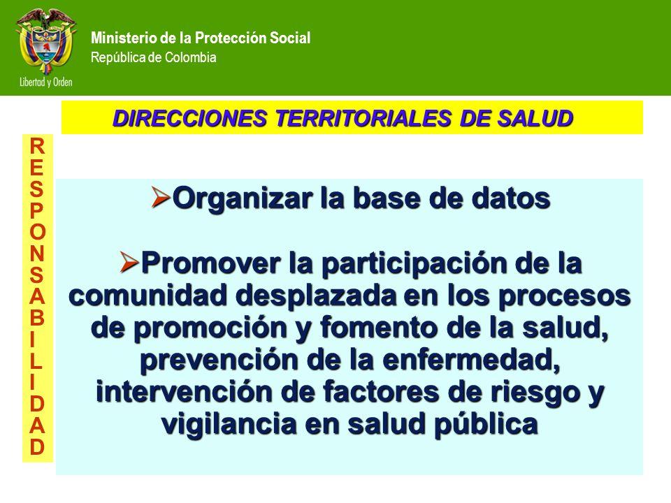 Ministerio de la Protección Social República de Colombia Organizar la base de datos Organizar la base de datos Promover la participación de la comunid