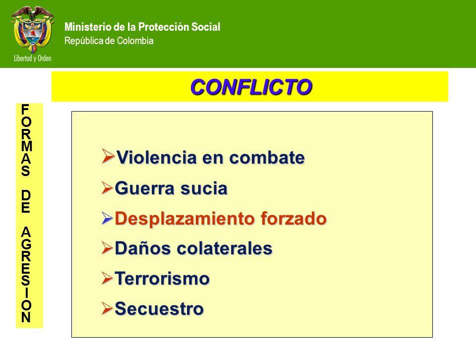 Ministerio de la Protección Social República de Colombia Violencia en combate Violencia en combate Guerra sucia Guerra sucia Desplazamiento forzado De
