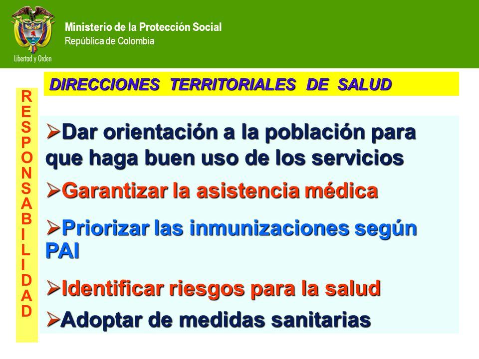 Ministerio de la Protección Social República de Colombia Dar orientación a la población para que haga buen uso de los servicios Dar orientación a la p