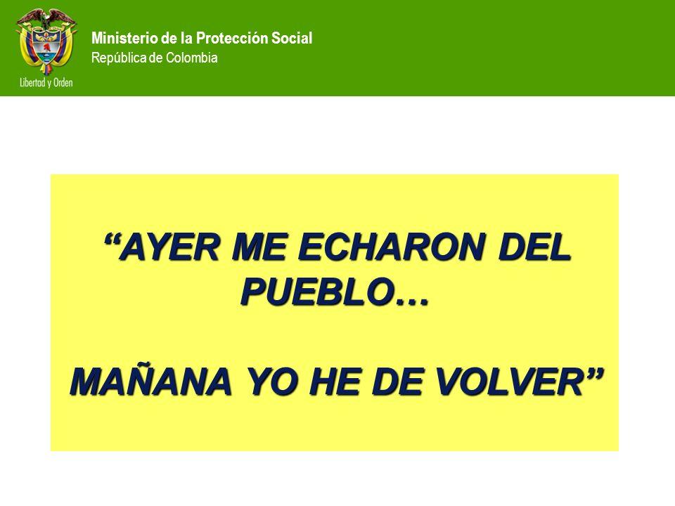 Ministerio de la Protección Social República de Colombia AYER ME ECHARON DEL PUEBLO… MAÑANA YO HE DE VOLVER