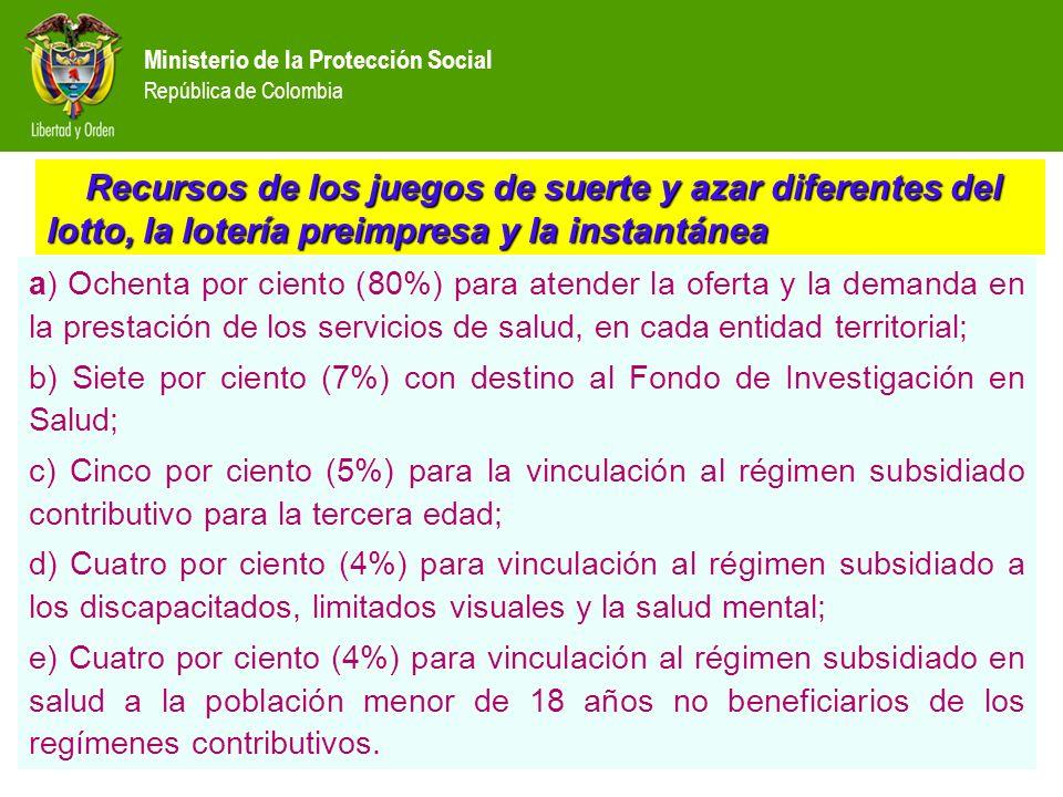 Ministerio de la Protección Social República de Colombia Recursos de los juegos de suerte y azar diferentes del lotto, la lotería preimpresa y la inst