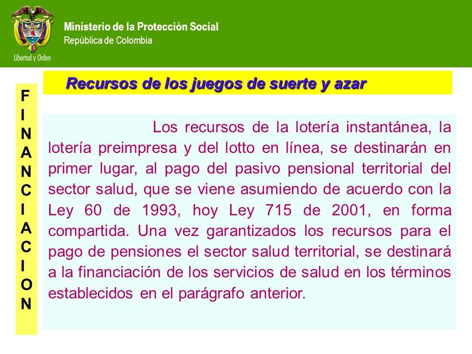 Ministerio de la Protección Social República de Colombia Recursos de los juegos de suerte y azar Recursos de los juegos de suerte y azar FINANCIACIONF