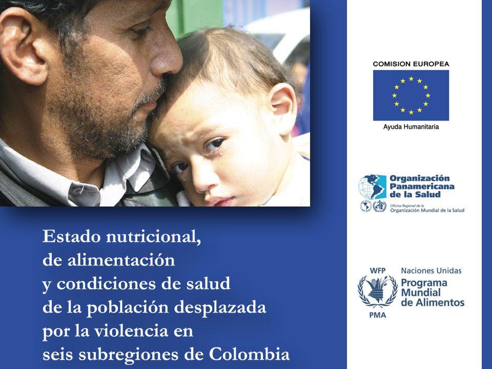 Objetivo Evaluar el estado nutricional y alimentario, así como las condiciones de salud de la población en condición de desplazamiento por la violencia en Colombia en comparación con población de estrato socioeconómico 1 receptor.