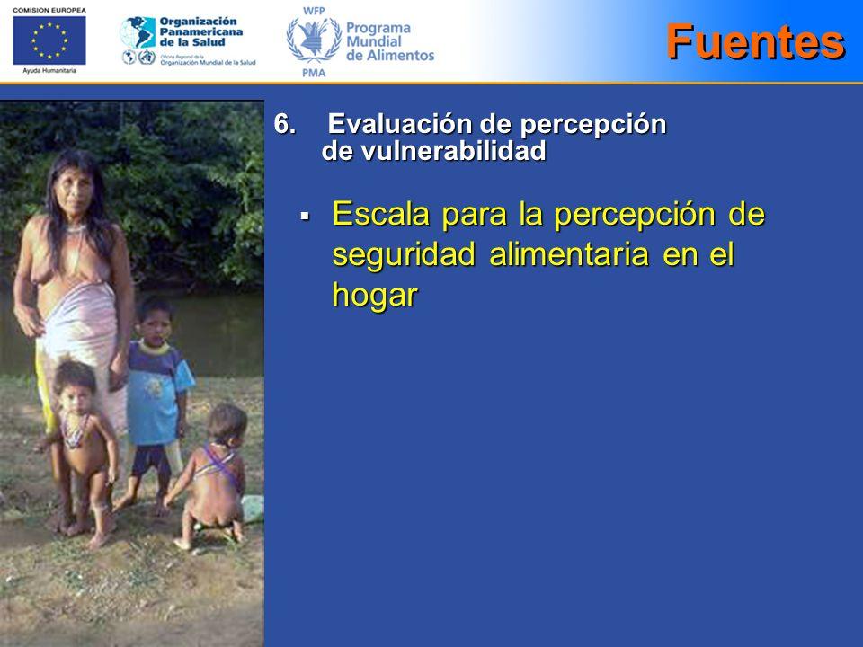 Escala para la percepción de seguridad alimentaria en el hogar Escala para la percepción de seguridad alimentaria en el hogar Fuentes 6. Evaluación de