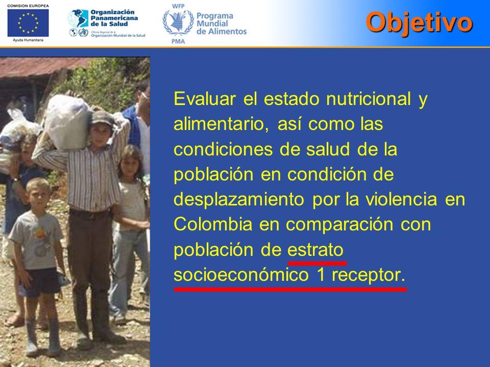 Objetivo Evaluar el estado nutricional y alimentario, así como las condiciones de salud de la población en condición de desplazamiento por la violenci