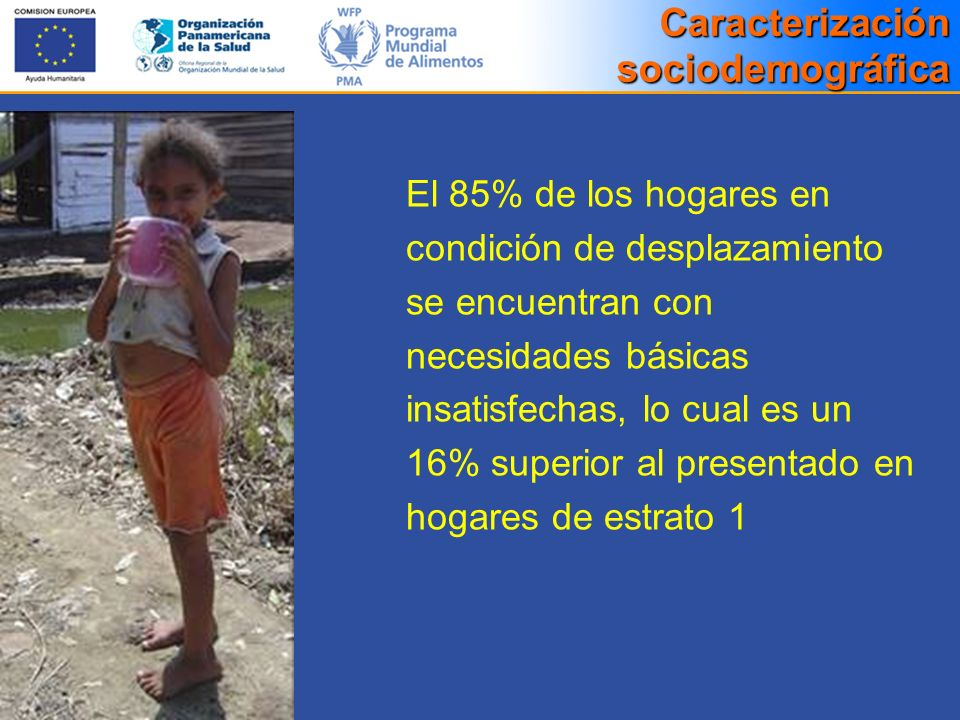 El 85% de los hogares en condición de desplazamiento se encuentran con necesidades básicas insatisfechas, lo cual es un 16% superior al presentado en