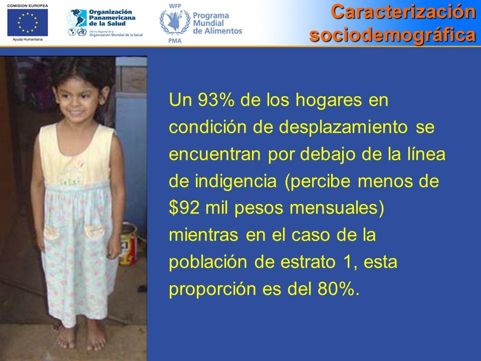 Un 93% de los hogares en condición de desplazamiento se encuentran por debajo de la línea de indigencia (percibe menos de $92 mil pesos mensuales) mie