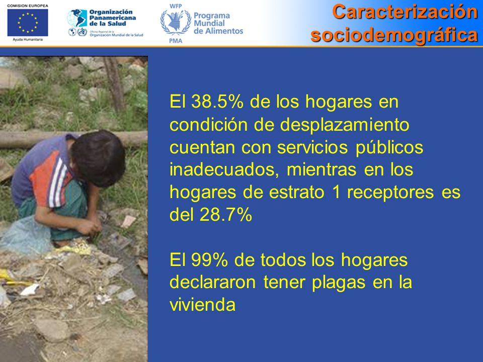 El 38.5% de los hogares en condición de desplazamiento cuentan con servicios públicos inadecuados, mientras en los hogares de estrato 1 receptores es