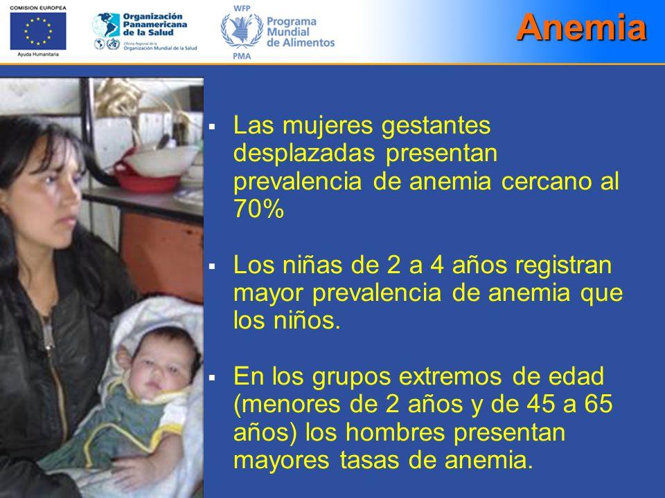 Las mujeres gestantes desplazadas presentan prevalencia de anemia cercano al 70% Los niñas de 2 a 4 años registran mayor prevalencia de anemia que los