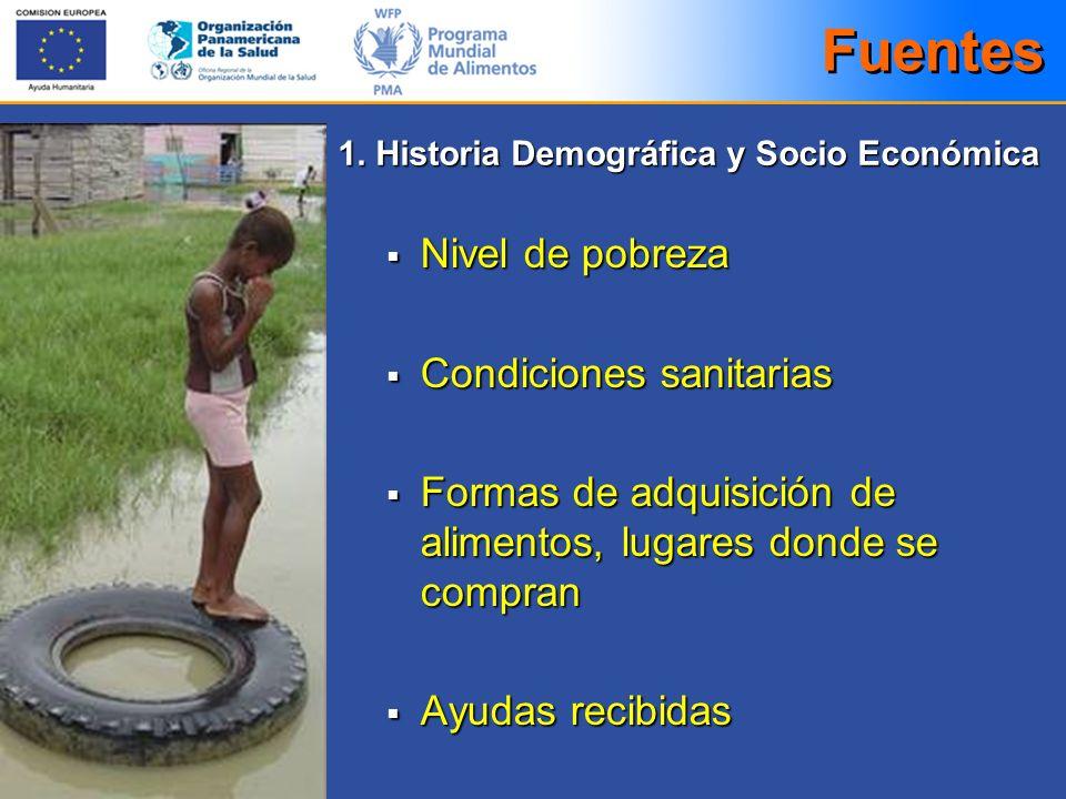 Nivel de pobreza Nivel de pobreza Condiciones sanitarias Condiciones sanitarias Formas de adquisición de alimentos, lugares donde se compran Formas de