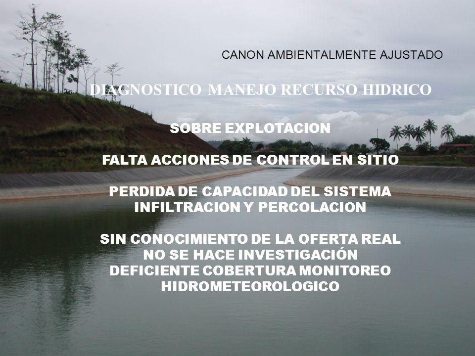 CANON AMBIENTALMENTE AJUSTADO DIAGNOSTICO MANEJO RECURSO HIDRICO SOBRE EXPLOTACION FALTA ACCIONES DE CONTROL EN SITIO PERDIDA DE CAPACIDAD DEL SISTEMA