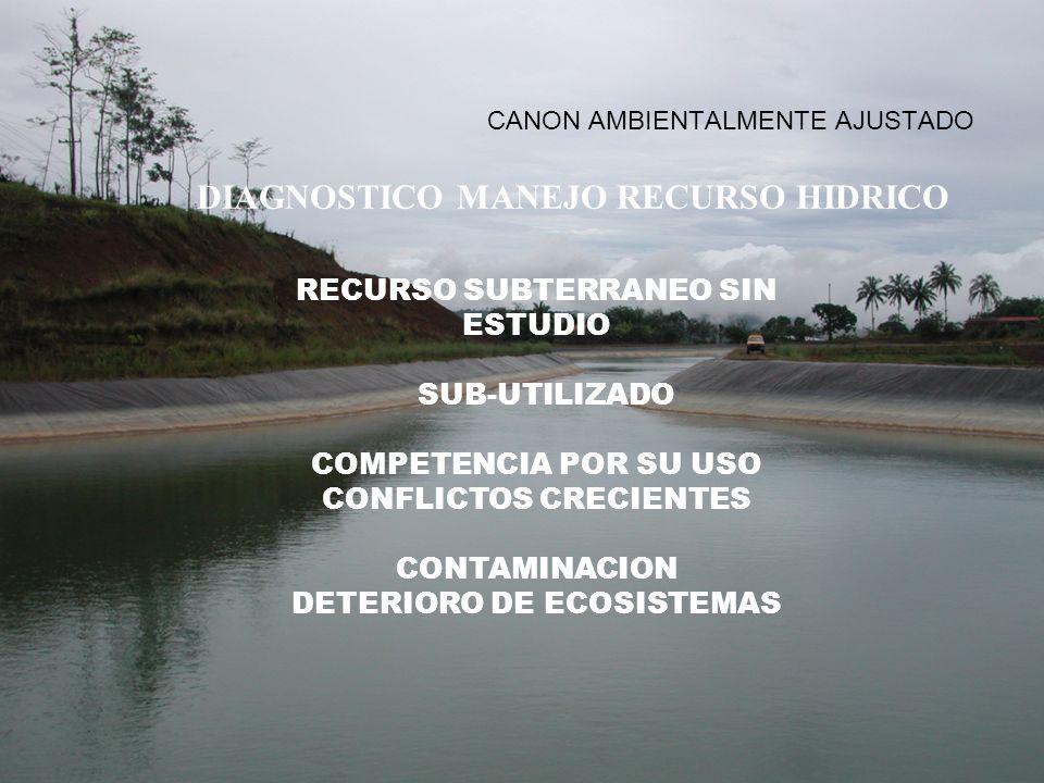 CANON AMBIENTALMENTE AJUSTADO DIAGNOSTICO MANEJO RECURSO HIDRICO RECURSO SUBTERRANEO SIN ESTUDIO SUB-UTILIZADO COMPETENCIA POR SU USO CONFLICTOS CRECI